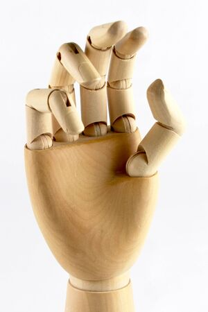 wooden hand wood fingers isolated artist model tool Stock Photo