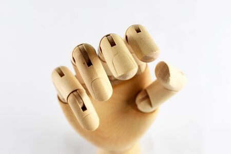wooden hand wood fingers isolated artist model tool 스톡 콘텐츠