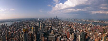 View of Manhattan, New York City, NY, USA on a sunny summer day