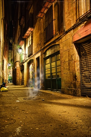 Small mystik lane in the historic, gothic center of Barcelona, Spain
