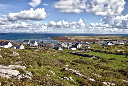 ireland: overview of Kileany and the beautiful landscape of Inis Mór Island, Ireland.