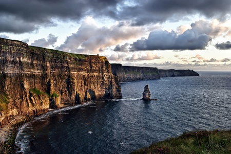 moher: cloudy sunset at Cliffs of Moher, Ireland Stock Photo