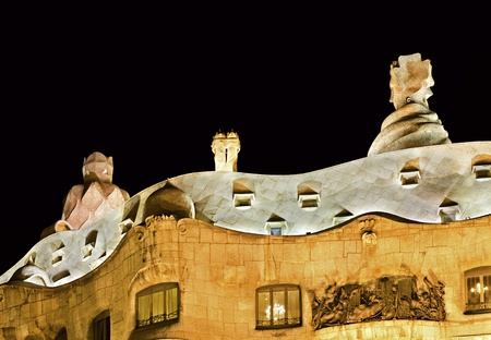 BARCELONA, SPAIN - OCTOBER 26: Roof of Casa Mila (La Pedrera) by architect Antoni Gaudi, UNESCO World Heritage Site and one of the main tourist attractions at night on 26, 2011 in Barcelona, Spain