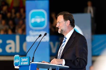 L´Hospitalet, Spain - November 16: Mariano Rajoy, president of spanish People's Party and running for president, at a meeting  during the 2011 election campaign on 16/11/2011 in L'Hospitalet, Spain Stock Photo - 11229693