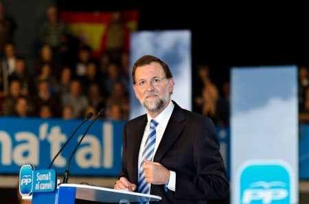 L´Hospitalet, Spain - November 16: Mariano Rajoy, president of spanish People's Party and running for president, at a meeting  during the 2011 election campaign on 16/11/2011 in L'Hospitalet, Spain Stock Photo - 11229704