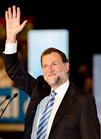 L´Hospitalet, Spain - November 16: Mariano Rajoy, president of spanish People's Party and running for president, at a meeting  during the 2011 election campaign on 16/11/2011 in L'Hospitalet, Spain Stock Photo - 11229927