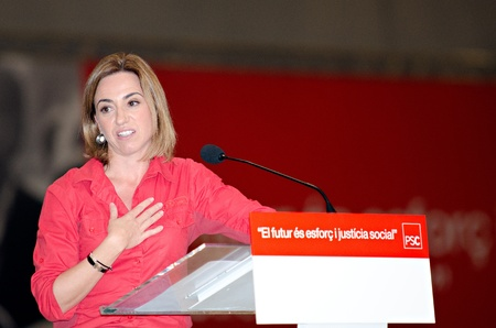 BARCELONA, SPAIN - NOVEMBER 17: Carme Chacon (PSC), Minister of Defense and holding a speech at a meeting during the 2011 election campaign in Barcelona, Spain on 17/11/2011 Stock Photo - 11240955
