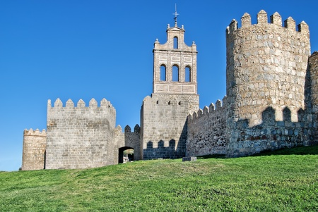 Medieval fortification imposing medieval Walls (11th-14th centuries) of Avila, Spain