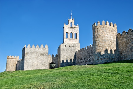 fortification: Medieval fortification imposing medieval Walls (11th-14th centuries) of Avila, Spain Editorial