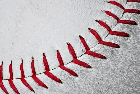 baseball ball: Baseball seams extreme close up of red baseball seams Stock Photo