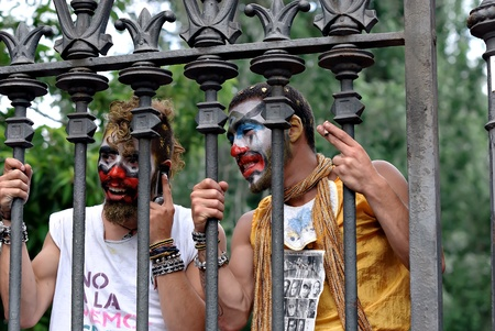 indignant: Protestors demonstrating against painful economic cuts, EURO-Pact, corruption and politicians on June 19, 2011 in Barcelona due to financial crisis Editorial