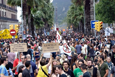Protestors demonstrating against painful economic cuts, EURO-Pact, corruption and politicians on June 19, 2011 in Barcelona due to financial crisis Editorial
