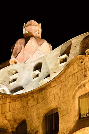 BARCELONA, SPAIN - OCTOBER 26: Roof of 'Casa Mila' (La Pedrera) by architect Antoni Gaudi, UNESCO World Heritage Site and one of the main tourist attractions at night on 26, 2011 in Barcelona, Spain