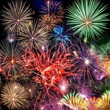 Fireworks Beautiful fireworks background for new year and other celebrations photo