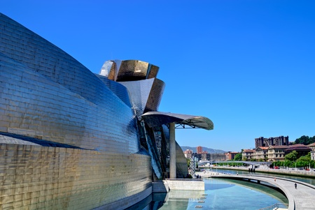 frank gehry: BILBAO, SPAIN - JUNE 03: Guggenheim Museum Bilbao, designed by Canadian-American architect Frank Gehry, one of the most admired works of contemporary architecture,  on June 03, 2010 in Bilbao, Spain. Editorial