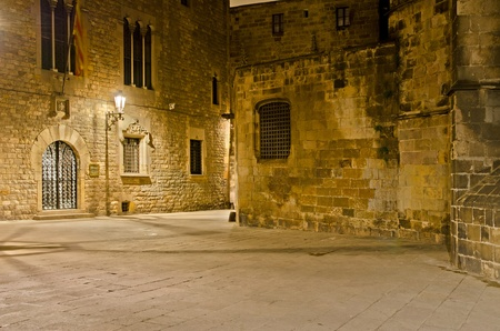 old quarter: gothic quarter, Barcelona, Spain - nightly lane behind the gothic cathedral Stock Photo