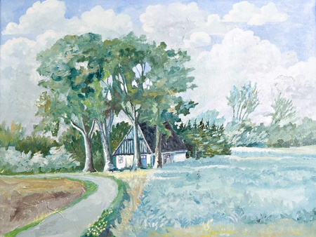 summer time cottage landscape - original oil on canvas painting Stock Photo