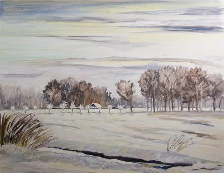 idyllic winter countryside - original painting oil on canvas photo