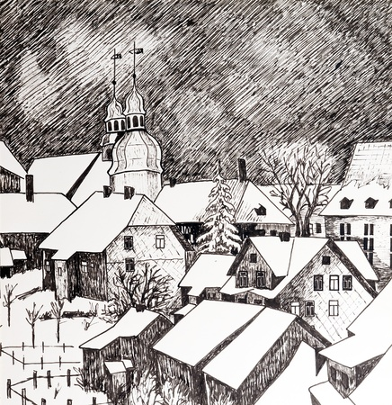 watercolor technique: winter town - original painting watercolor on paper