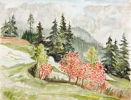 watercolor technique: autumn forest landscape - original painting watercolor on paper