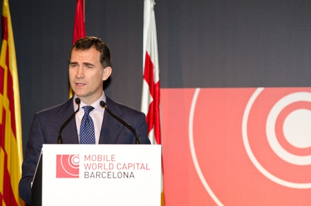 BARCELONA, SPAIN - FEBRUARY 26: HRH The Prince of Asturias Don Felipe de Borbo speaks at the official inauguration act at the Mobile World Congress 2012 on February 26, 2012 in Barcelona, Spain