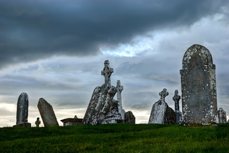The monastery of Clonmacnoise, Ireland - celtic crosses at graveyard