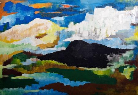 paisaje mediterraneo: paisaje de monta�a abstracto - la pintura al �leo original de la madera
