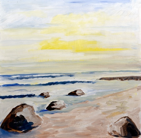 beach landscape at sunset - original painting oil on wood photo