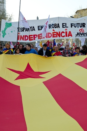 ugt: BARCELONA, SPAIN - MARCH 29: Catalan independence party takes part at the manifestation during spanish general strike against labour reforms in the city center of Barcelona on March 29, 2912. Editorial
