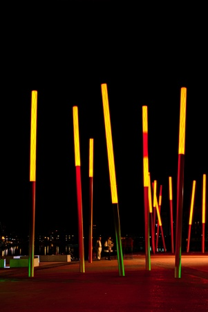 DUBLIN, IRELAND - AUGUST 23: Grand Canal Square, designed by\ leading international landscape architects and urban designers\ Martha Schwartz Partners at night time on August 23, 2011 in\ Dublin, Ireland\