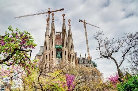 BARCELONA, SPAIN - APRIL 09: Passion Fa�ade of the Sagrada Familia, a large roman catholic church designed by Antoni Gaudi and mayor tourist attraction on April 09, 2012 in Barcelona, Spain.
