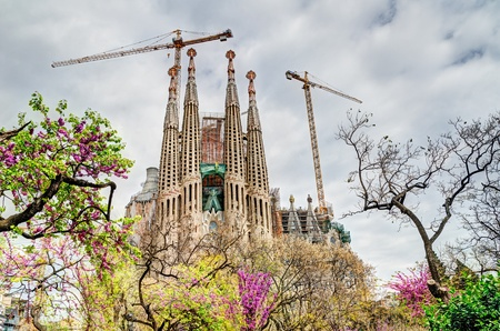BARCELONA, SPAIN - APRIL 09: Passion Fa�ade of the Sagrada Familia, a large roman catholic church designed by Antoni Gaudi and mayor tourist attraction on April 09, 2012 in Barcelona, Spain.