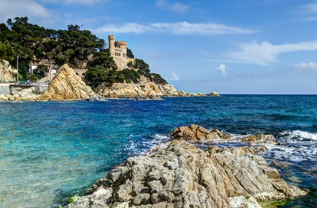 costa brava: mediterranean sea at the Costa Brava - Sant Joan Castle, Lloret de Mar, Spain