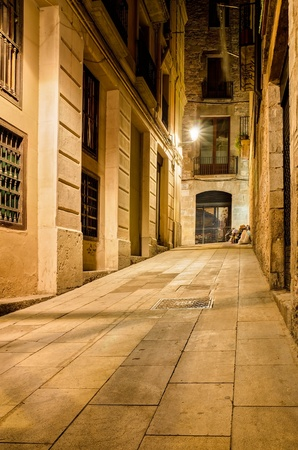 nightly lane in gothic quarter, Barcelona, Spain