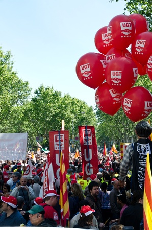 Thousands of people celebrate International Workers Day with a May Day demonstration against the recent cuts and for work, rights and dignity in the city center of Barcelona, on May 1st, 2012