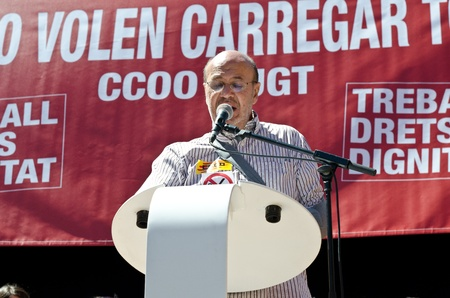ugt: Joan Carles Gallego, leader of catalan wing of union CC.OO speaks at the end of the May Day march in Barcelona, on May 1st, 2012