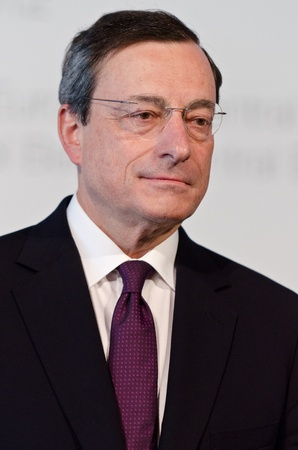 European Central Bank President Mario Draghi chairs the press conference following the Governing Council meeting of the ECB in Barcelona. Stock Photo - 13512117