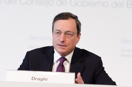 european money: European Central Bank President Mario Draghi chairs the press conference following the Governing Council meeting of the ECB in Barcelona.