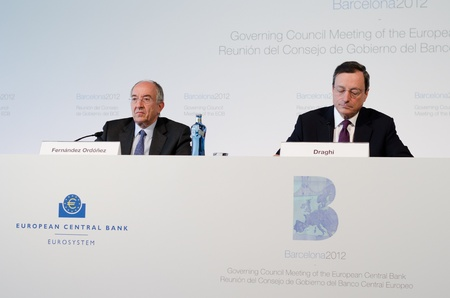 European Central Bank President Mario Draghi and Miguel Fernández Ordóñez, Governor of the Banco de España, at the press conference following the Governing Council meeting of the ECB in Barcelona.