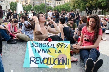 After a peaceful manifestation of several thousand Indignados filled the Plaza Catalunya, the epicenter of the 15M movement, activists hold an assembly and prepare to hold the space until the 15th of May, in Barcelona, Spain on May 12th, 2012