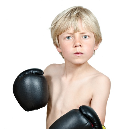 boy boxing: blond boy boxing