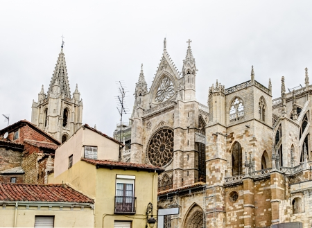 leon: roofs and Cathedral - Leon, Spain