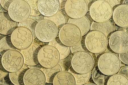 50 euro: background of a multitude of 50 EUROcent coins  Stock Photo