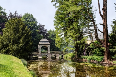 river bridge in the English garden of 17th century castle Dyck, Germany - one of the most important castles in the Rhineland Stock Photo - 15266968