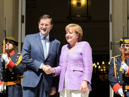 Spanish Prime Minister Mariano Rajoy receives German Chancellor Angela Merkel at the Moncloa Palace on September 06, 2012 in Madrid, Spain