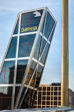MADRID, SPAIN - SEPTEMBER 06: Bankia is the fourth largest bank of Spain and a symbol for the current financial and banking crisis. The operational headquarters on September 06, 2012 in Madrid, Spain