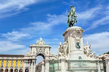 Statue of King Jos� I at the Commerce Square  Praca do Comercio , Lisbon, Portugal photo