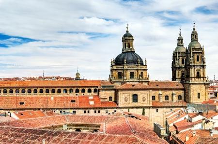 patrimony: view over roofs to the University Pontifica of Salamanca, Spain Stock Photo