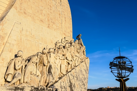 discoverer: Padrao dos Descobrimentos  Monument to the Discoveries , Lisbon, Portugal, at sunset