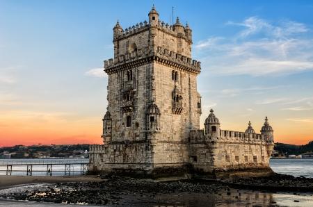 portugal: Belem tower at sunset - Lisbon, Portugal Editorial